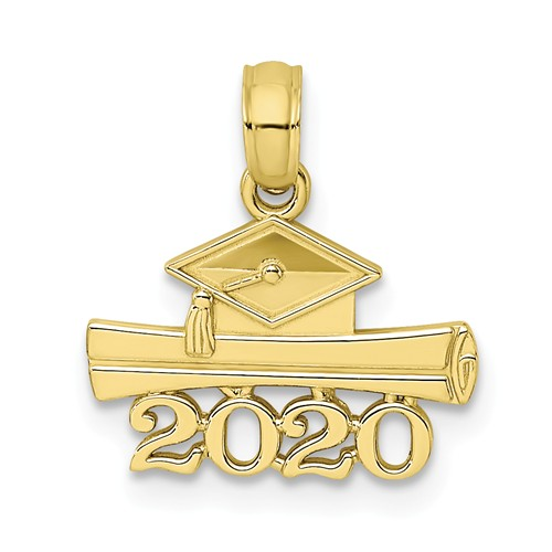 10k Yellow Gold 2020 Graduation Cap and Diploma Pendant