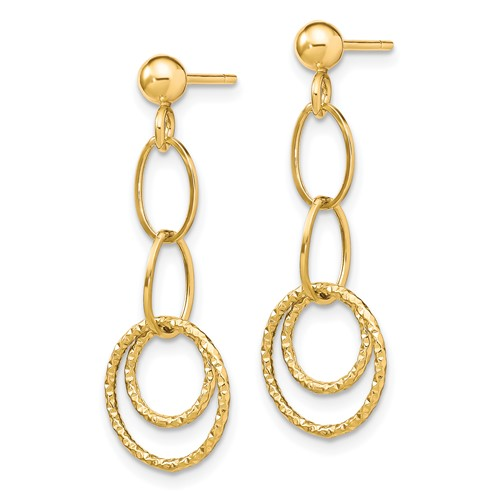 10kt Yellow Gold Oval and Round Drop Dangle Post Earrings