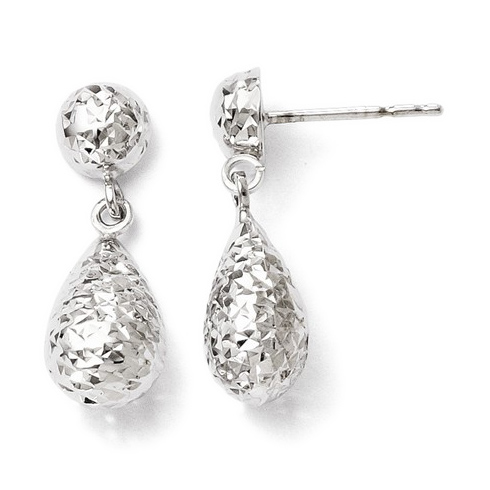 10kt White Gold 3/4in Textured and Polished Pear Post Dangle Earrings