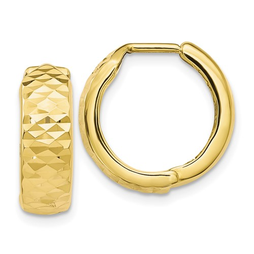 10kt Yellow Gold 5/8in Italian Diamond-cut Hoop Earrings