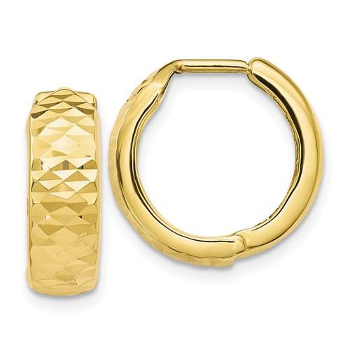 10kt Yellow Gold 5/8in Italian Diamond-cut Hoop Earrings