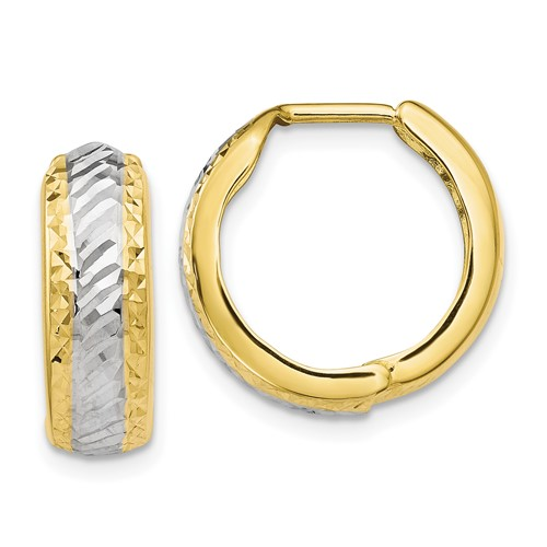 10kt Two-tone Gold 5/8in Italian Diamond-cut Hoop Earrings with Facets