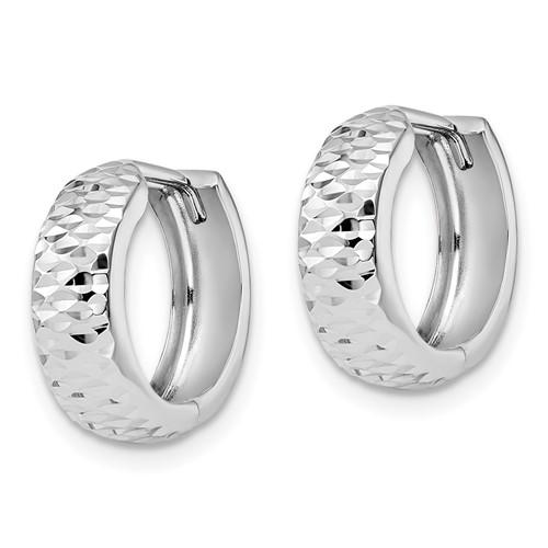 10kt White Gold 5/8in Italian Diamond-cut Hoop Earrings