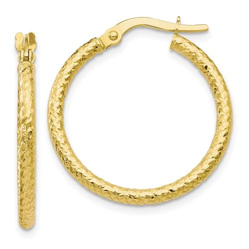 10kt Yellow Gold 7/8in Textured Hoop Earrings