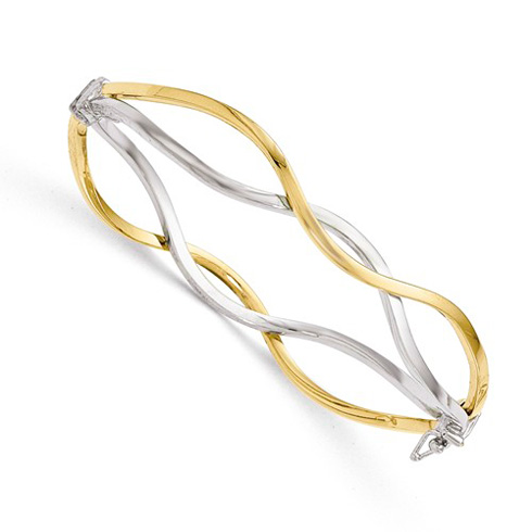 14kt Two-tone Gold Italian Split Wave Bangle Bracelet