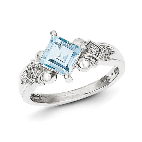 10kt White Gold 7/8 Ct Square Aquamarine Ring with Diamond Accents