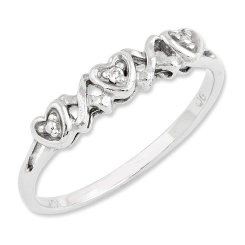 10kt White Gold Heart Promise Ring with Diamond Accent