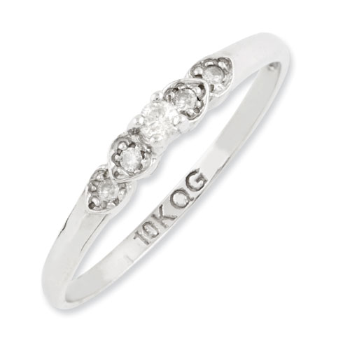 10kt White Gold 1/6 ct Diamond Hearts Promise Ring