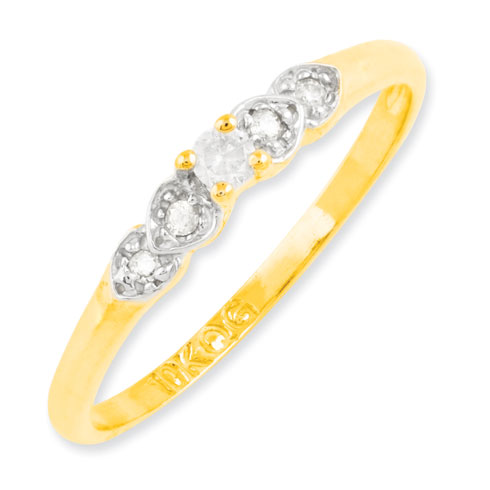 10kt Yellow Gold 1/6 ct Diamond Hearts Promise Ring