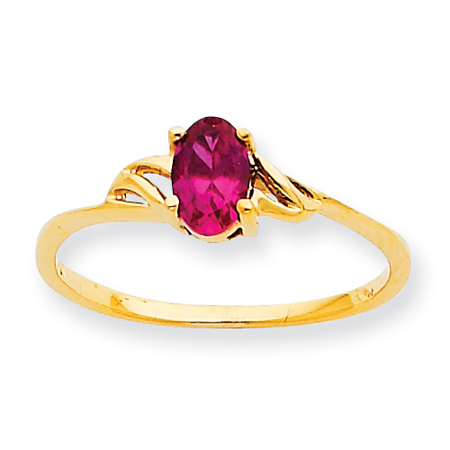 10kt Yellow Gold Oval Genuine Ruby Ring