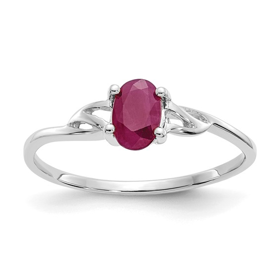 10kt White Gold Oval Genuine Ruby Ring