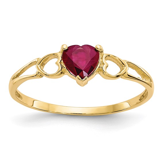 10kt Yellow Gold Heart Genuine Ruby Ring