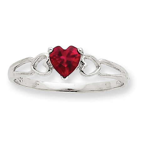 10kt White Gold Heart Genuine Ruby Ring