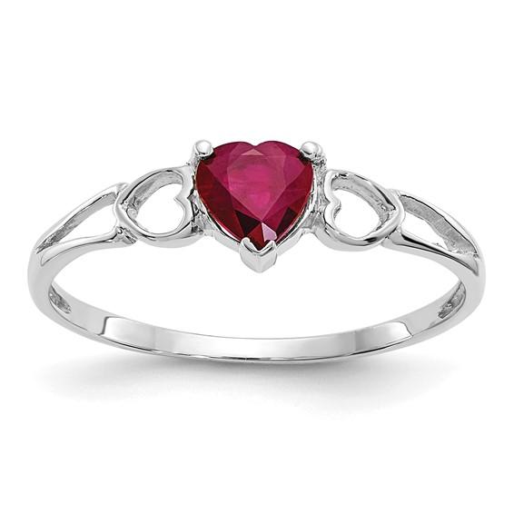 10kt White Gold Heart Genuine Ruby Ring