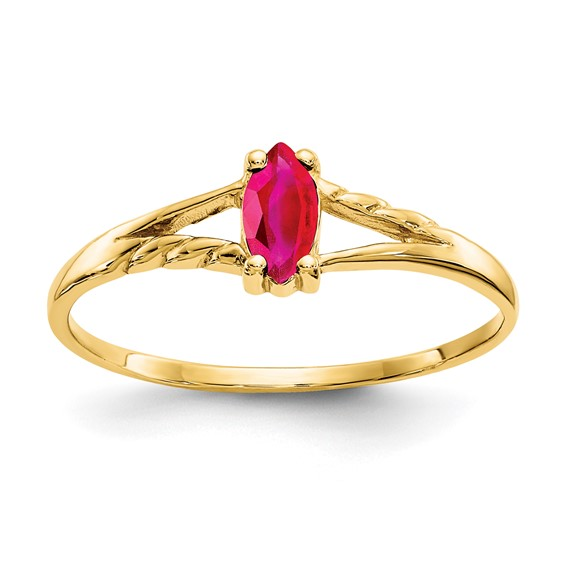 10kt Yellow Gold Marquise Genuine Ruby Ring
