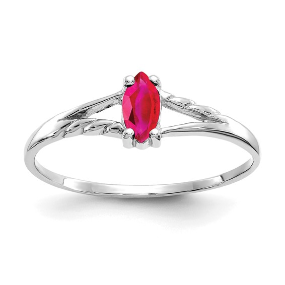 10k White Gold 1/3 ct Marquise Genuine Ruby Ring