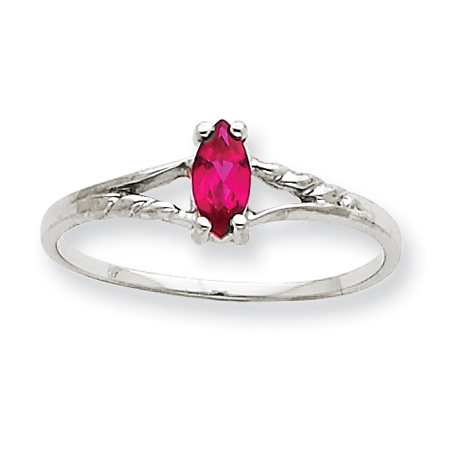 10kt White Gold Marquise Genuine Ruby Ring