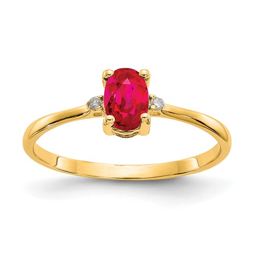 10kt Yellow Gold Oval Genuine Ruby Ring with Diamond Accents