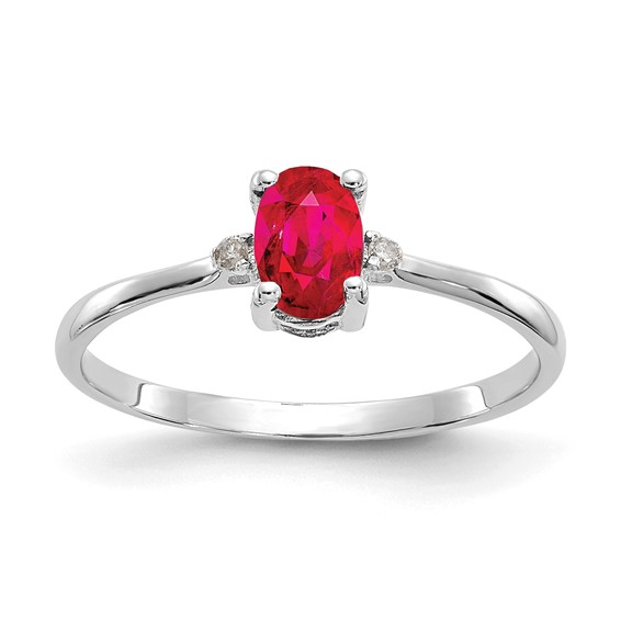 10kt White Gold Oval Genuine Ruby Ring with Diamond Accents