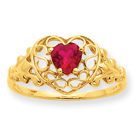 10kt Yellow Gold Genuine Ruby Filigree Heart Ring