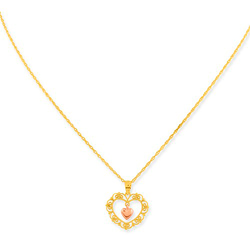 10kt Yellow and Rose Gold Filigree Heart Pendant on 18in Chain