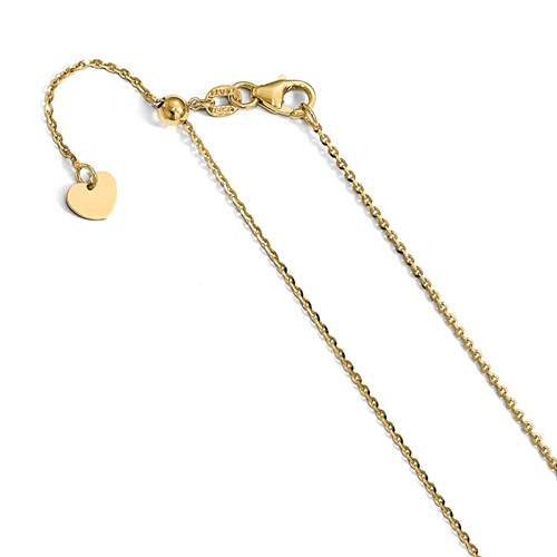 14k Yellow Gold Adjustable Open Link Chain 1.1mm