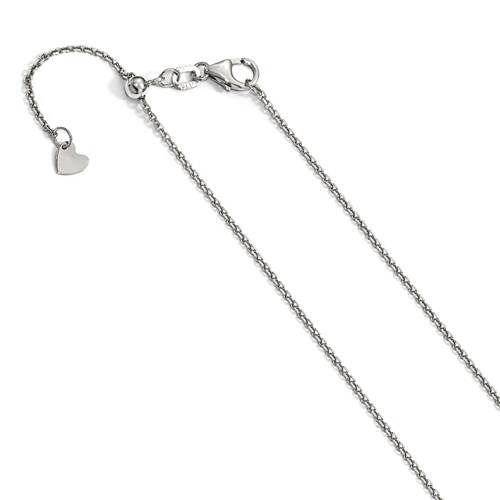 14k White Gold Adjustable Diamond-cut Cable Chain 1.25mm