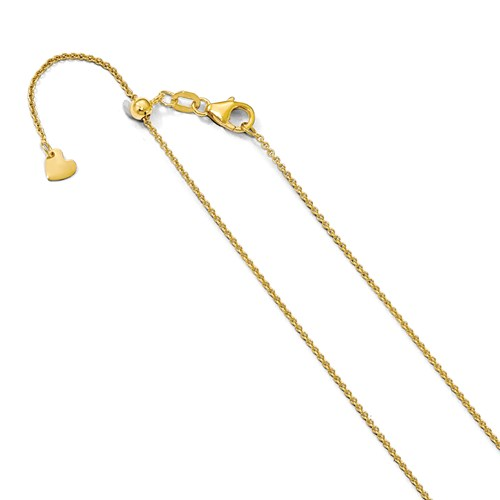 14k Yellow Gold Adjustable Round Cable Chain 1.25mm