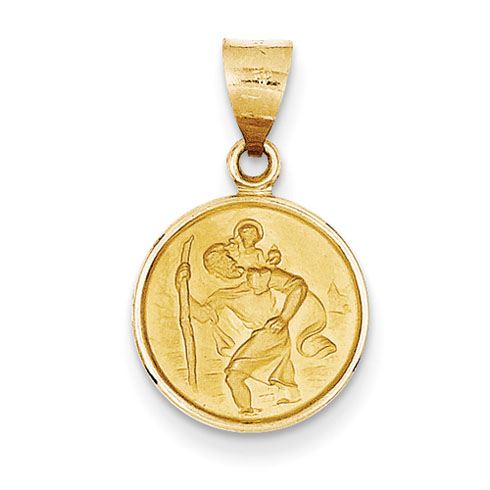18kt Yellow Gold 1/2in Saint Christopher Medal