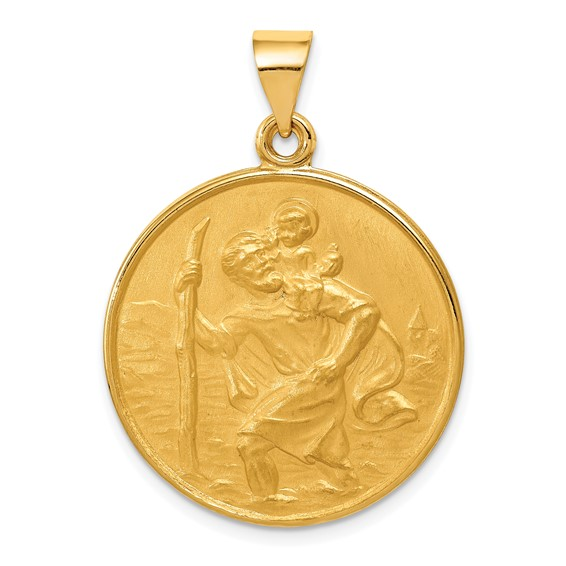 18kt Yellow Gold 15/16in Saint Christopher Medal