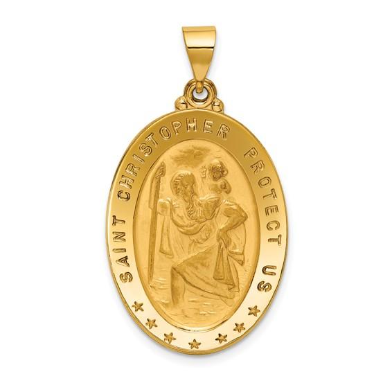 18kt Gold 1 1/8in Saint Christopher Medal