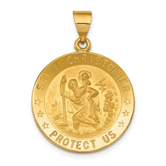 18k 7/8in Saint Christopher Medal Pendant