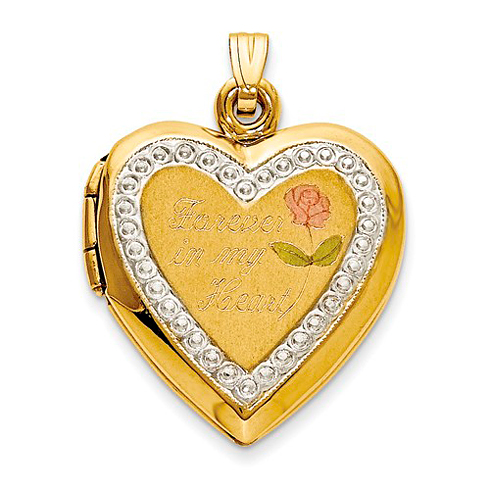 10kt Two-Tone Gold 3/4in Forever in my Heart Locket