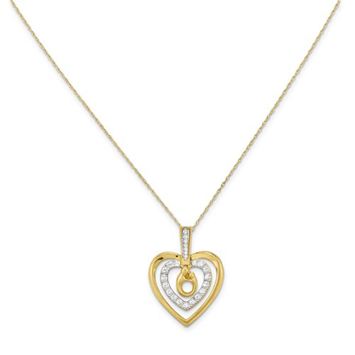 10kt Yellow Gold 1in Mother and Child Heart 18in Necklace