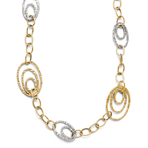 14kt Two-tone Gold 17in Italian Growing Oval Link Necklace