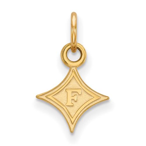 10k Yellow Gold 3/8in Furman University Diamond Logo Charm