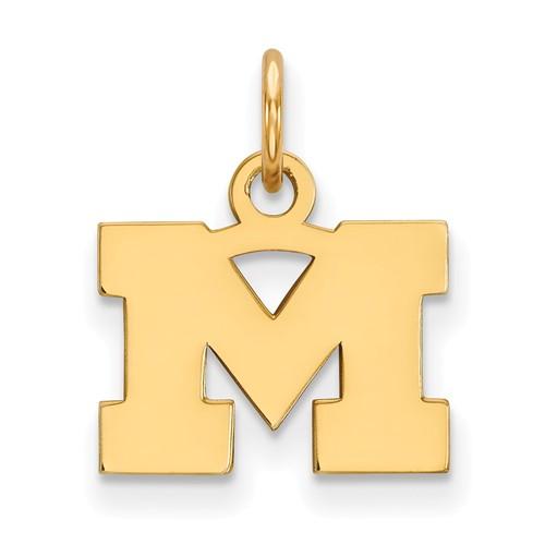 14kt Yellow Gold 3/8in University of Michigan M Pendant