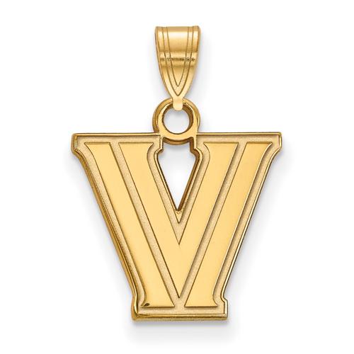 Villanova University V Pendant 1/2in 14k Yellow Gold