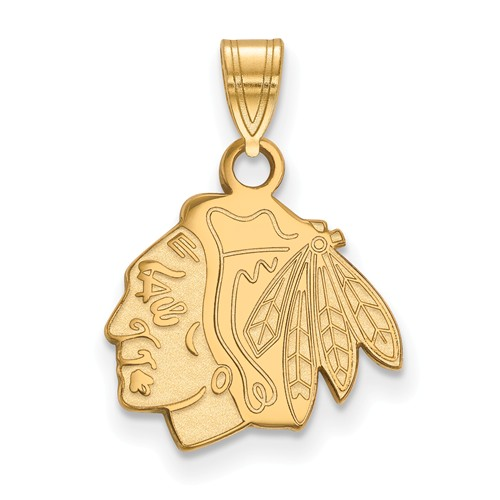 Chicago Blackhawks Pendant 1/2in 14k Yellow Gold