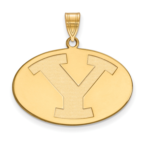 Brigham Young University Oval Pendant 3/4in 14k Yellow Gold