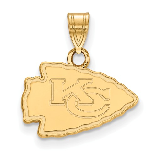 14k Yellow Gold 1/2in Kansas City Chiefs Pendant