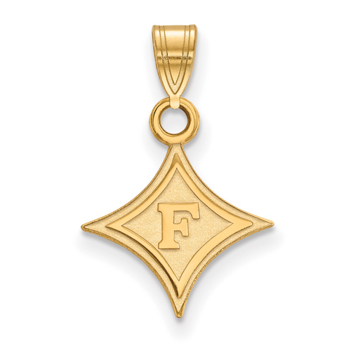 14k Yellow Gold 1/2in Furman University Diamond Logo Pendant