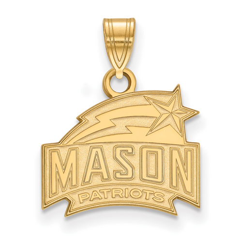 10k Yellow Gold 1/2in George Mason University Patriots Pendant