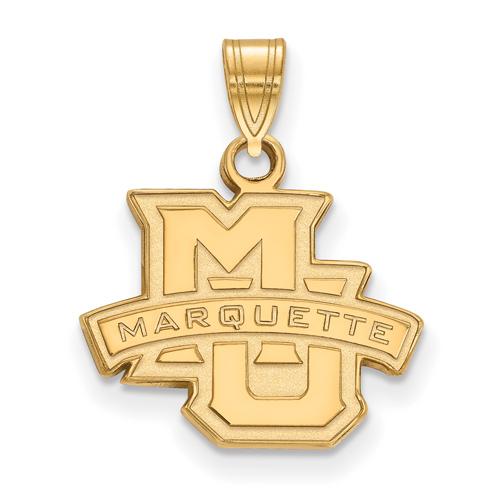 Marquette University Logo Pendant 1/2in 14k Yellow Gold