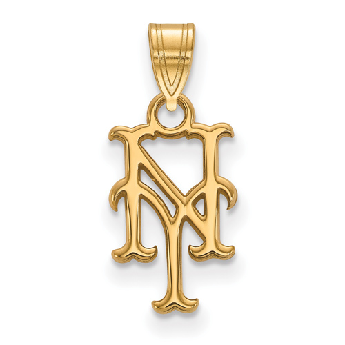 10kt Yellow Gold 1/2in New York Mets NY Pendant