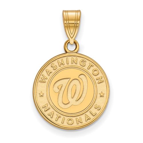 10k Yellow Gold 5/8in Washington Nationals Baseball Club Pendant