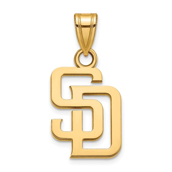14k Yellow Gold 1/2in San Diego Padres SD Pendant