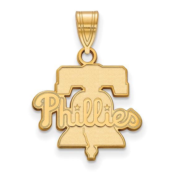 10kt Yellow Gold 5/8in Philadelphia Phillies Bell Pendant