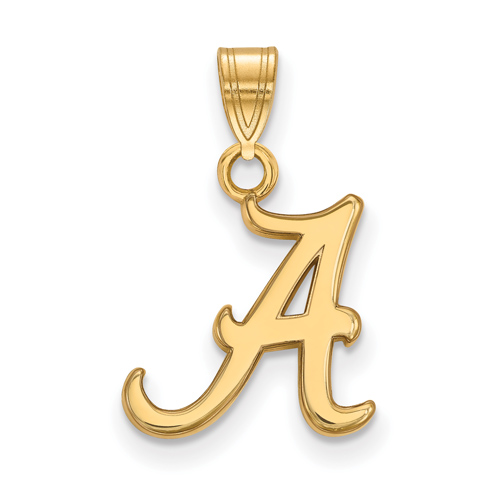 14kt Yellow Gold 1/2in University of Alabama A Pendant