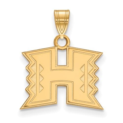 University of Hawaii H Pendant 1/2in 10k Yellow Gold